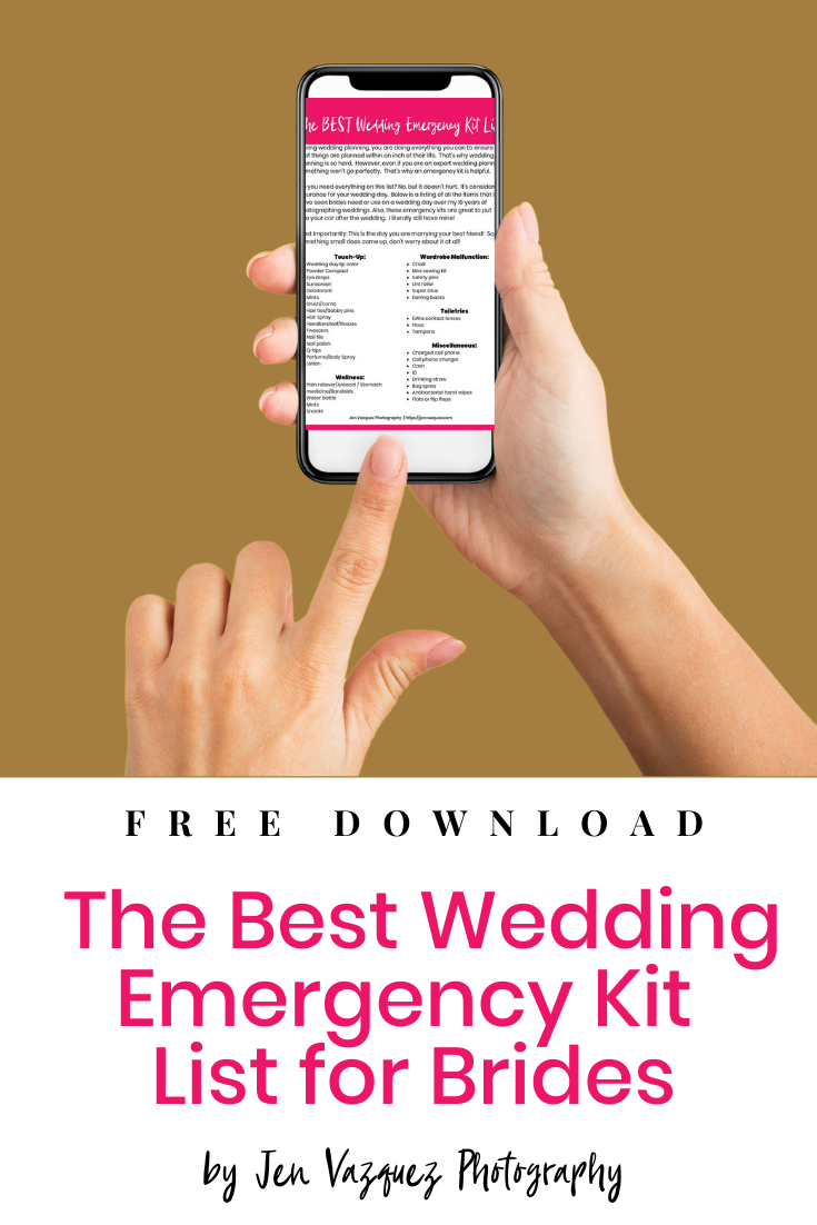 the Best Wedding Emergency Kit List for Brides by jen vazquez photography