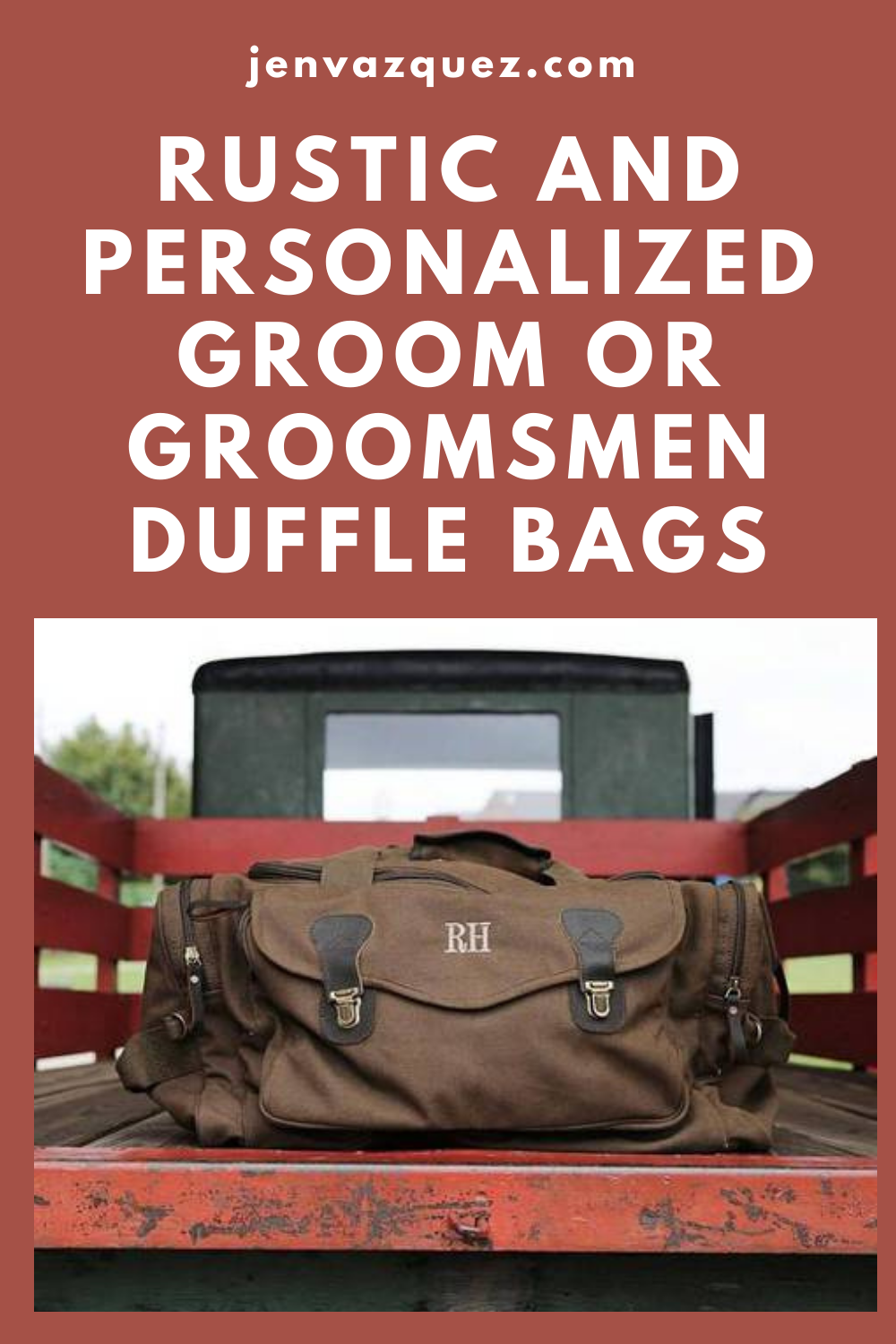 Rustic duffle bag for groom or groomsmen