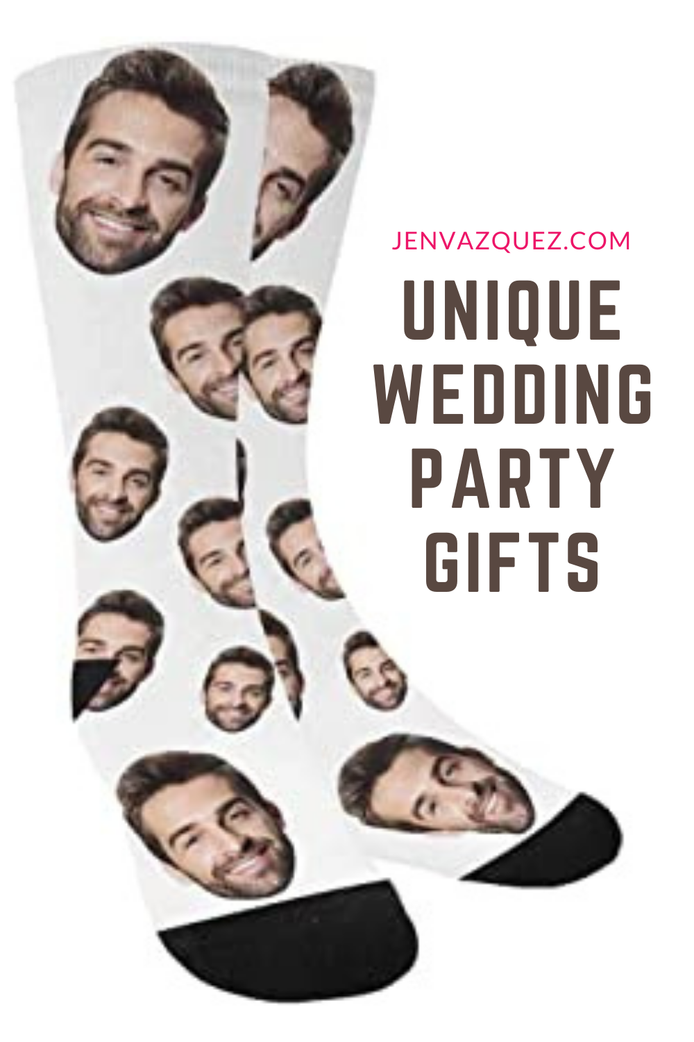 socks for your bridal party with images of you two on them