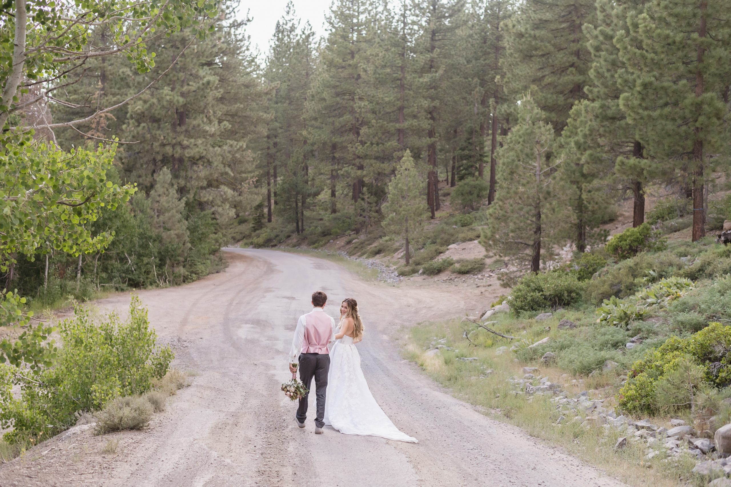 Elopement in the woods of Lake Tahoe by Jen Vazquez Photography with a Badgley Mischka Wedding gown-4891