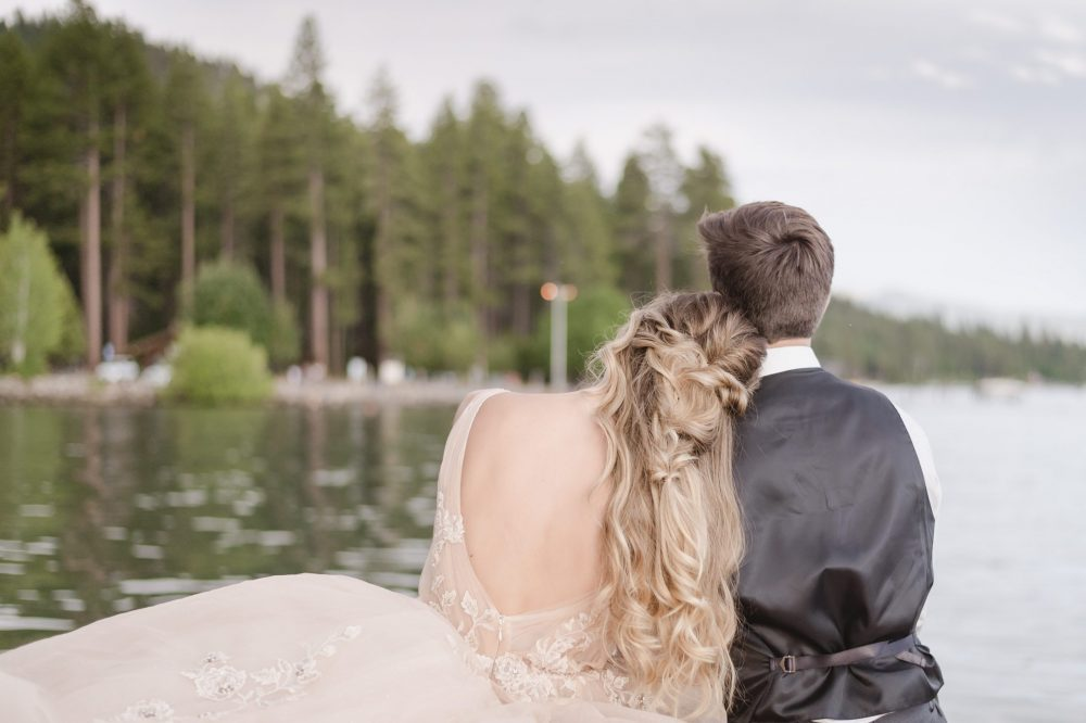 Intimate Elopement in North Lake Tahoe by Jen Vazquez Photography with a pale peach badgley mischka wedding gown-6220