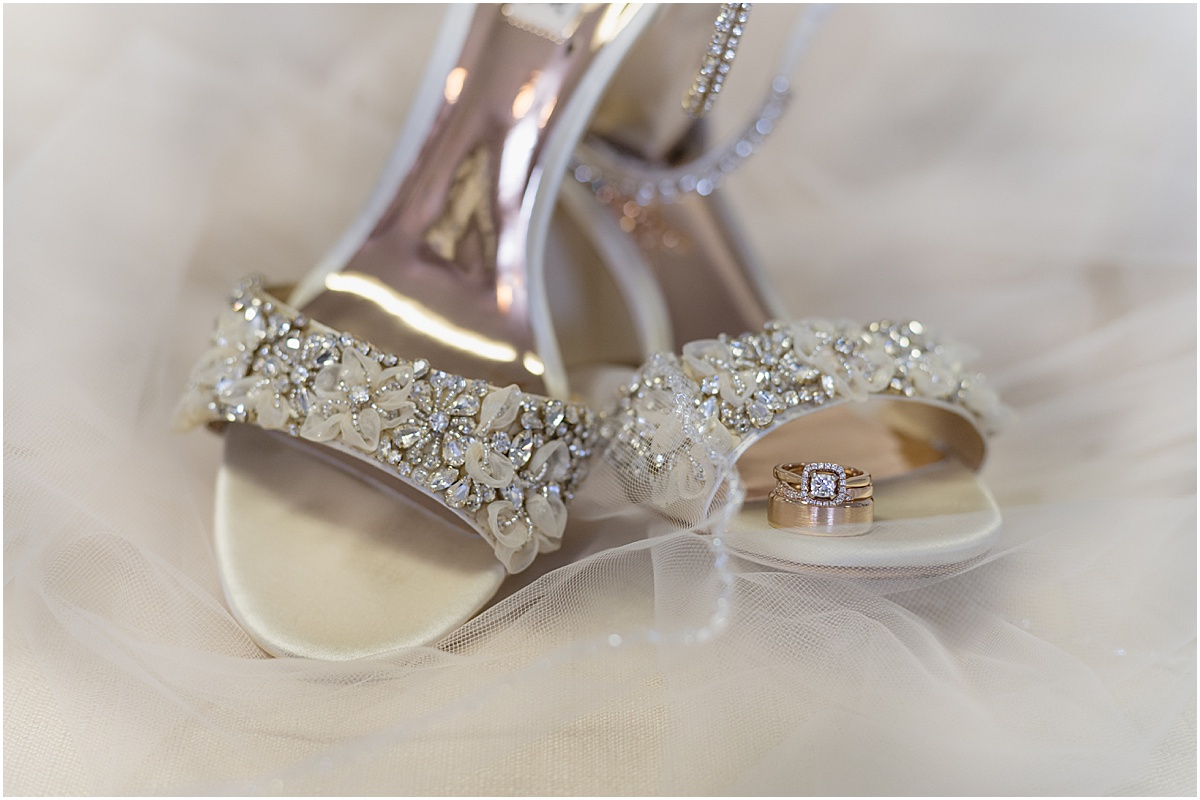 Gilroy wedding at Fortino Winery Ashley and Stephen badgley mischka shoes