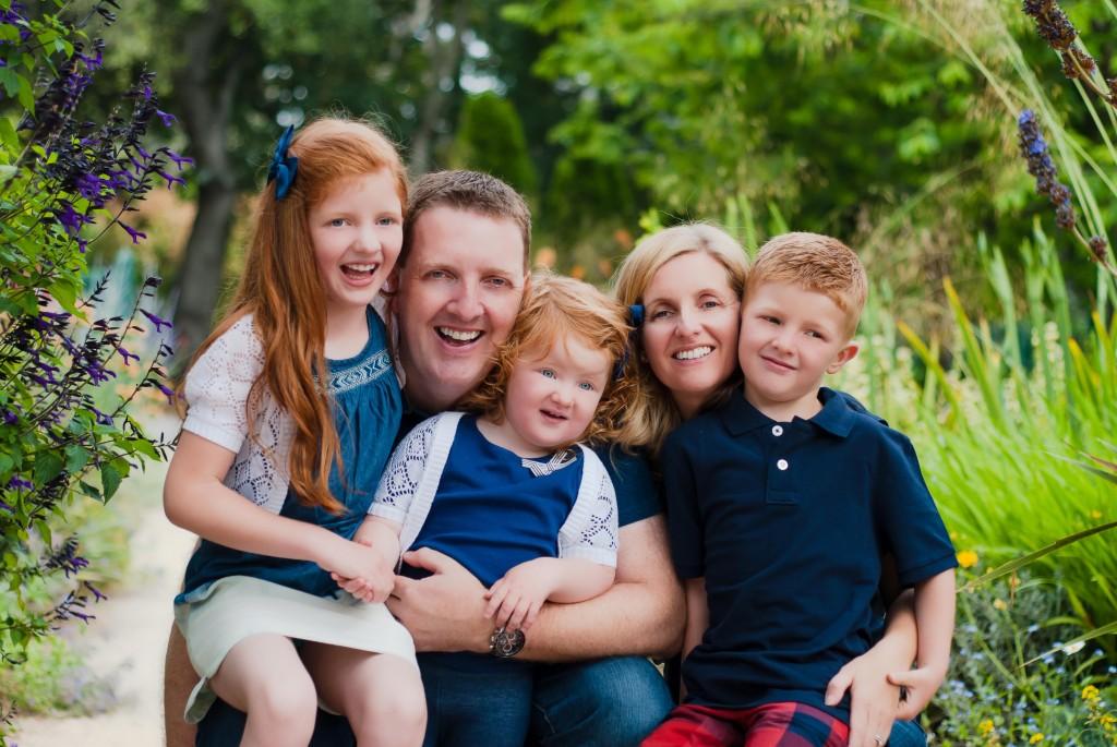 Family Portrait by San Jose Photographer Jen Vazquez at Elizabeth Gamble Gardens in Palo Alto