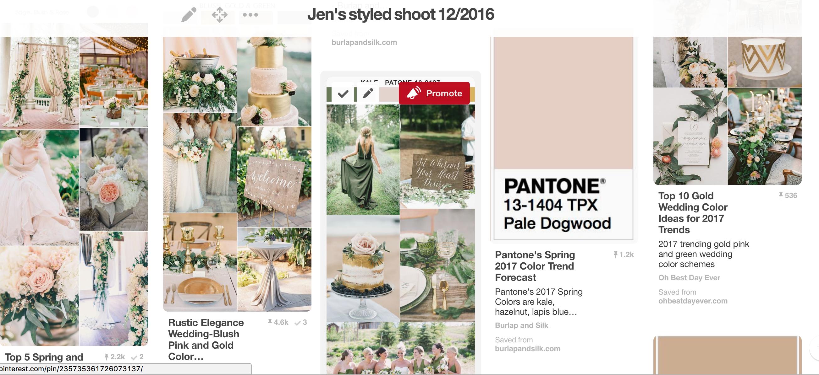 Pantone Greenery Wedding Styled Shoot Mood Board