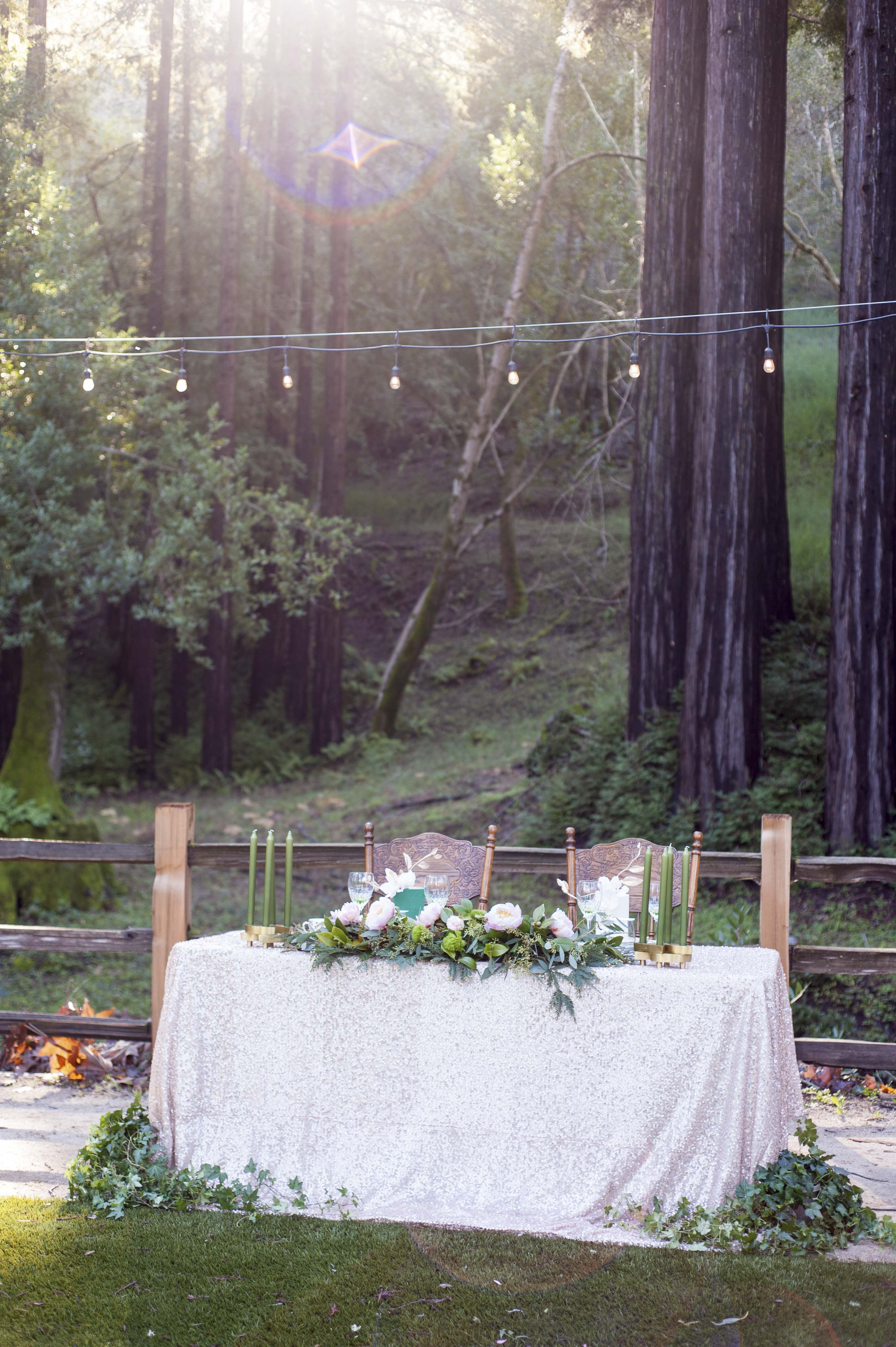 Sweetheart wedding table in the woods in Gilroy California at Fernwood Cellars Redwood Retreat