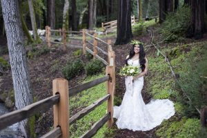 bride at fernwood cellars redwood retreat in gilroy green fern crown